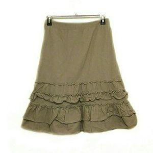 LOFT Size 4 Corduroy Ruffle Midi Tan Skirt